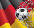 Soccer Goal. German flag with a soccer ball in a net.