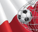 Soccer Goal. Polish flag with a soccer ball in a net.