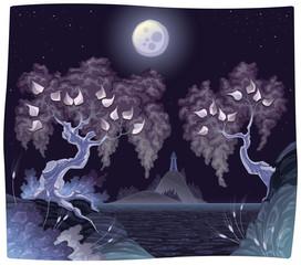 Romanitc landscape  in the night. Vector illustration.