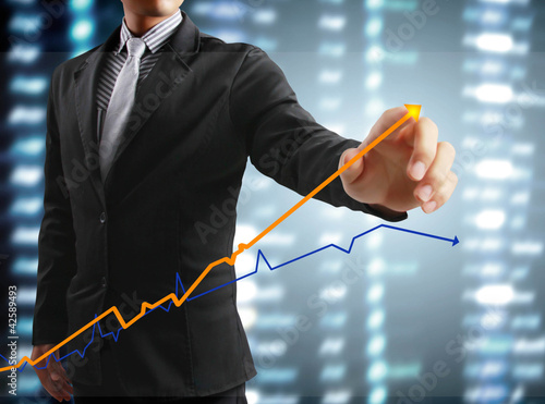 touching display screen with statistics graph and data informati