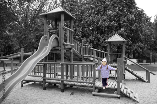 loneliness and child on the playground during the holidays