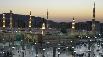 Nabawi Mosque west side time lapse from dawn to sunrise