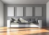 Fototapety Sofa mit 4 Wandbildern