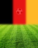 fussballfeld mit brd flagge und ball