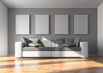 Sofa mit 4 Wandbildern