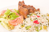 Roast lamb with rice and salad