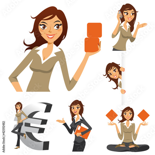 femme d'affaires, logo, illustration, set