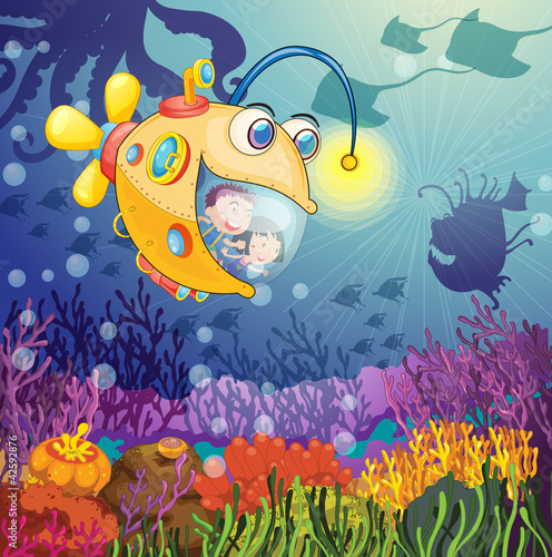 Poster Onderzeeer monster fish and kids