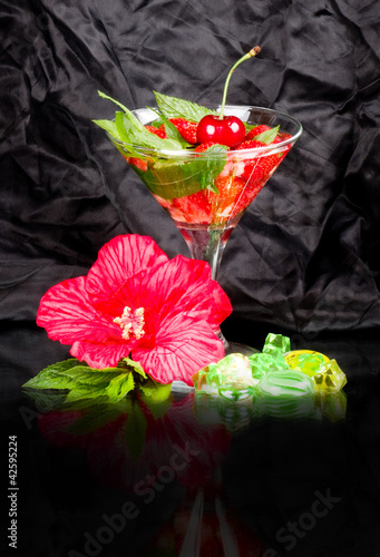 Classic Mojito summer with strawberry on a white background