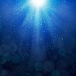 Blue bubbles luminous rays background Lumiray-B