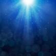 Blue bubbles luminous rays background Lumiray-B