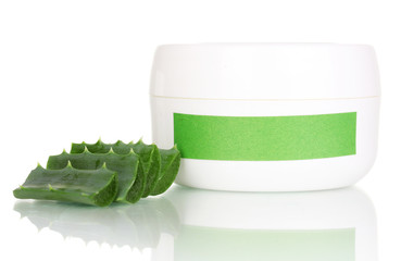 Jar of cream with aloe vera isolated on white