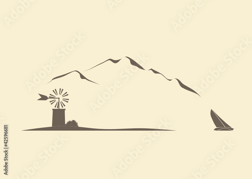Landschaft mit Windmühle und Segelboot
