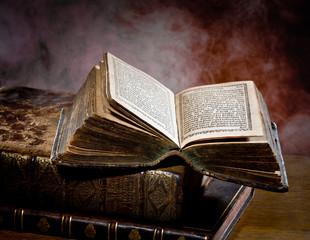 Old books in a streak of light