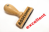 rubber stamp marked with assessment excellent poster