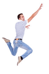 jumping young casual man
