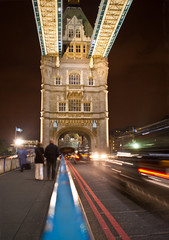 London cabs on Tower Bridge