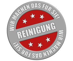 Schild graurot rt WMDFS REINIGUNG