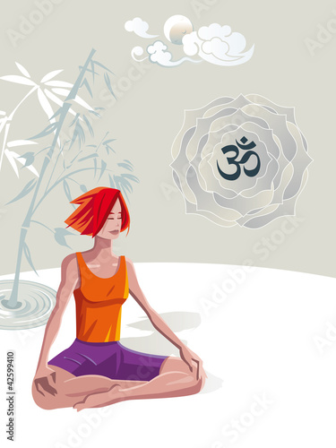 Woman Practicing Yoga Meditation