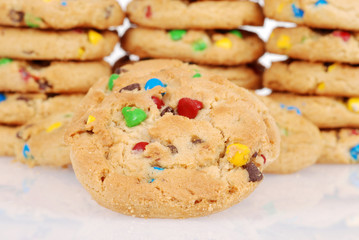 Closeup of chocolate chip candy cookies