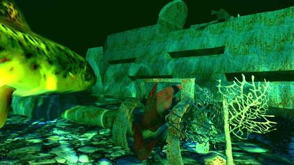 Wreckage of submarine