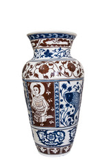 CLIPPING PART. Thai style vase painting  on white background