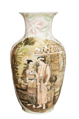 CLIPPING PART. Classic Thai style vase on white background