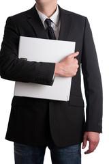 businessmann hält weißen Aktenordner