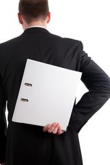 Weißer Ordner hinter einem Business Mann Rücken