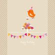 Flying Orange Bird 10 Cupcakes Festoons Beige Dots