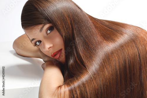 High quality image. Woman with smooth hair - 42600612