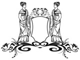 decorative element with ancient greek goddesses
