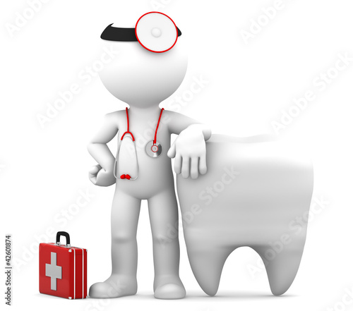 Dentist and Teeth. Isolated