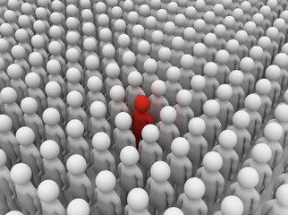 3d image of people symbols - Standing out from the crowd