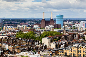 Aerial View from Westminster Cathedral on Roofs and Battersea Po