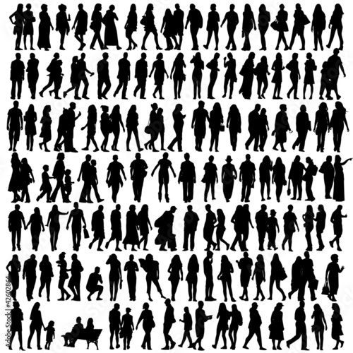 people silhouette black vector