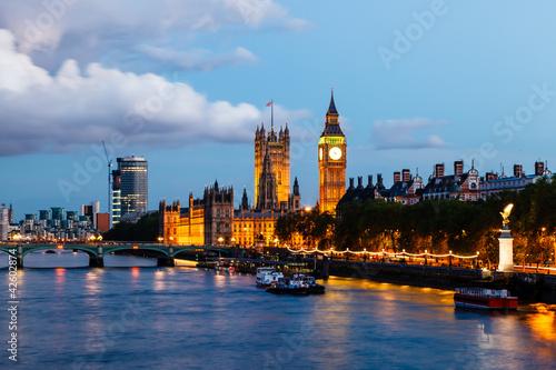 Foto op Canvas Praag Big Ben and Westminster Bridge in the Evening, London, United Ki