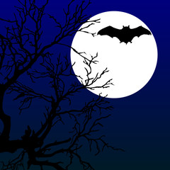 bat fly on the moonlight with tree illustration