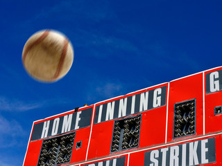 Baseball Scoreboard with Homerun