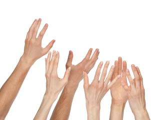 Many hands wanting/asking for something, copyspace