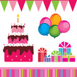 vector of the birthday cake, gifts