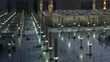 Umbrellas in Nabawi Mosque time lapse from dawn to sunrise