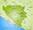 Karte von Bosnien-Herzegowina mit Umland und Hauptstädten