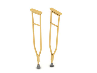 pair of crutches orthopedic equipment isolated on white backgrou