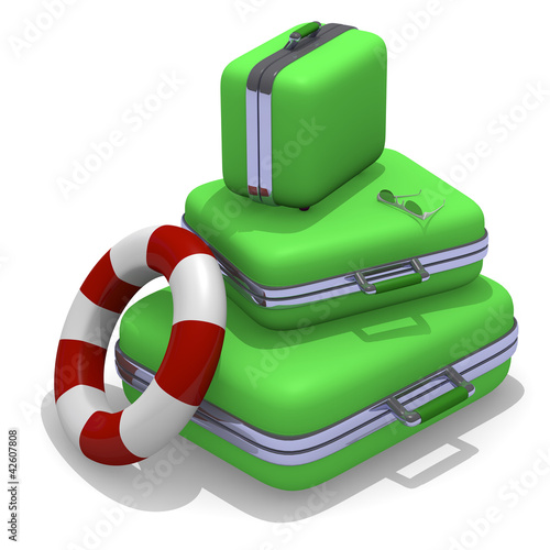 Green suitcases with sunglasses
