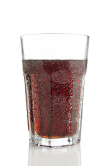 Glass of cola isolated on white background