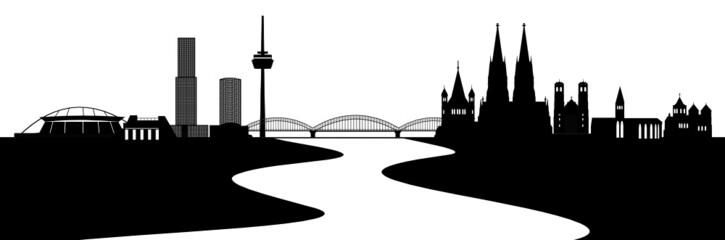 Köln Skyline mit Rhein
