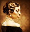 Classical Retro Style Portrait. Romantic Beauty