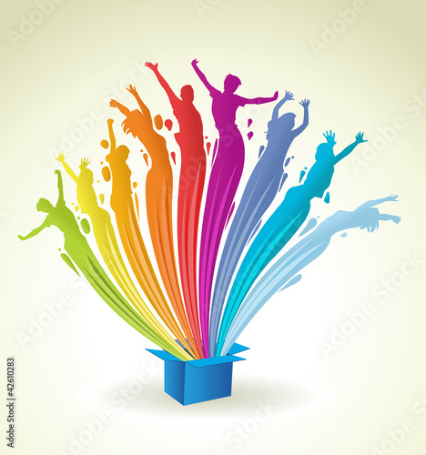 Colorful paint in shape of people splashing out of a blue box
