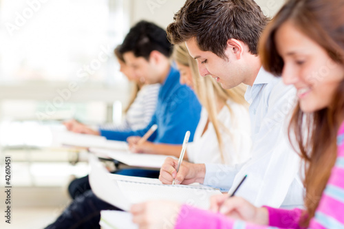 Students taking a exam